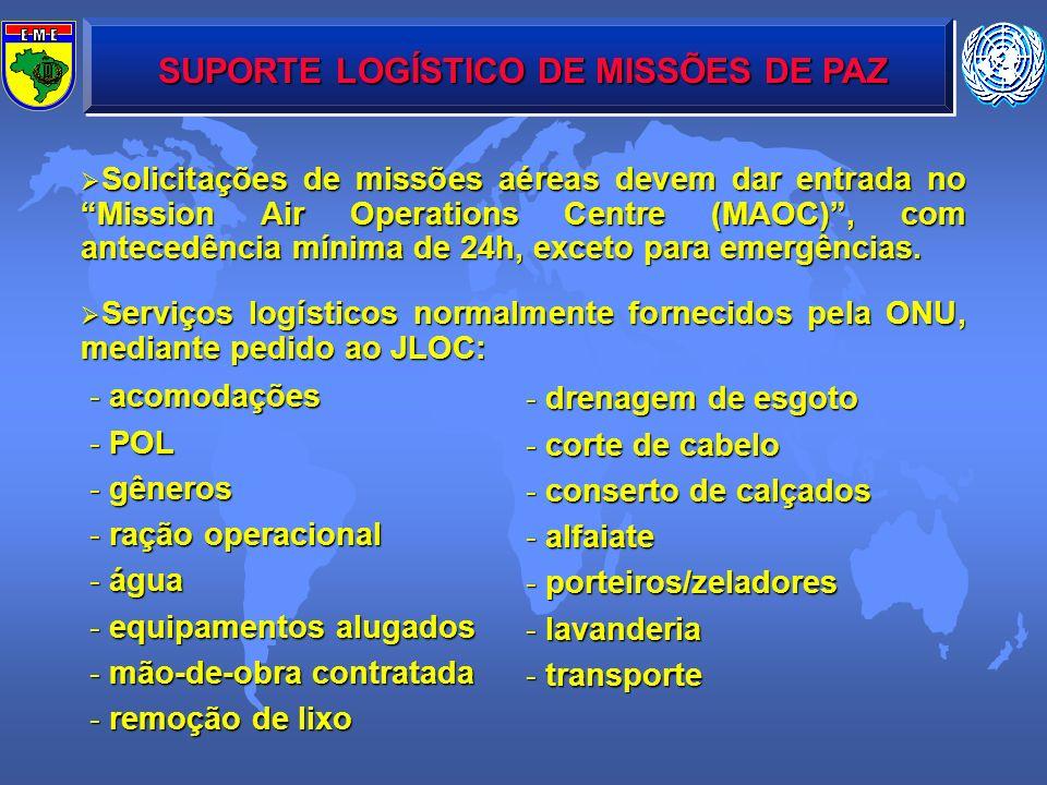 SUPORTE LOGÍSTICO DE MISSÕES DE PAZ Solicitações de missões aéreas devem dar entrada no Mission Air Operations Centre (MAOC), com antecedência mínima