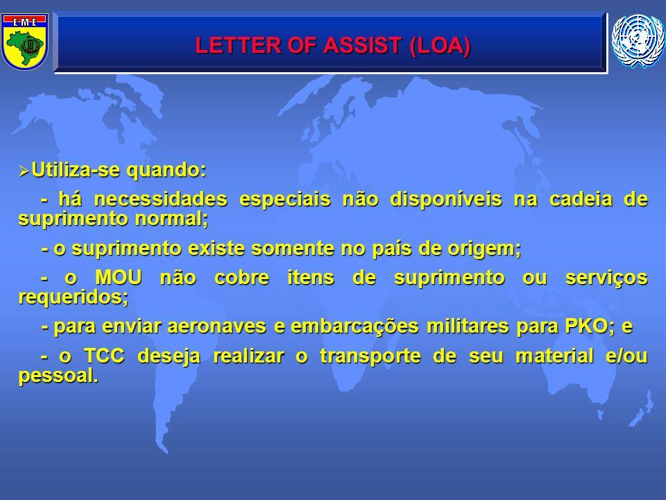 LETTER OF ASSIST (LOA) Utiliza-se quando: Utiliza-se quando: - há necessidades especiais não disponíveis na cadeia de suprimento normal; - há necessid