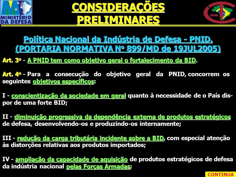 Política Nacional da Indústria de Defesa - PNID. (PORTARIA NORMATIVA N o 899/MD de 19JUL2005) Art. 3 o - A PNID tem como objetivo geral o fortalecimen