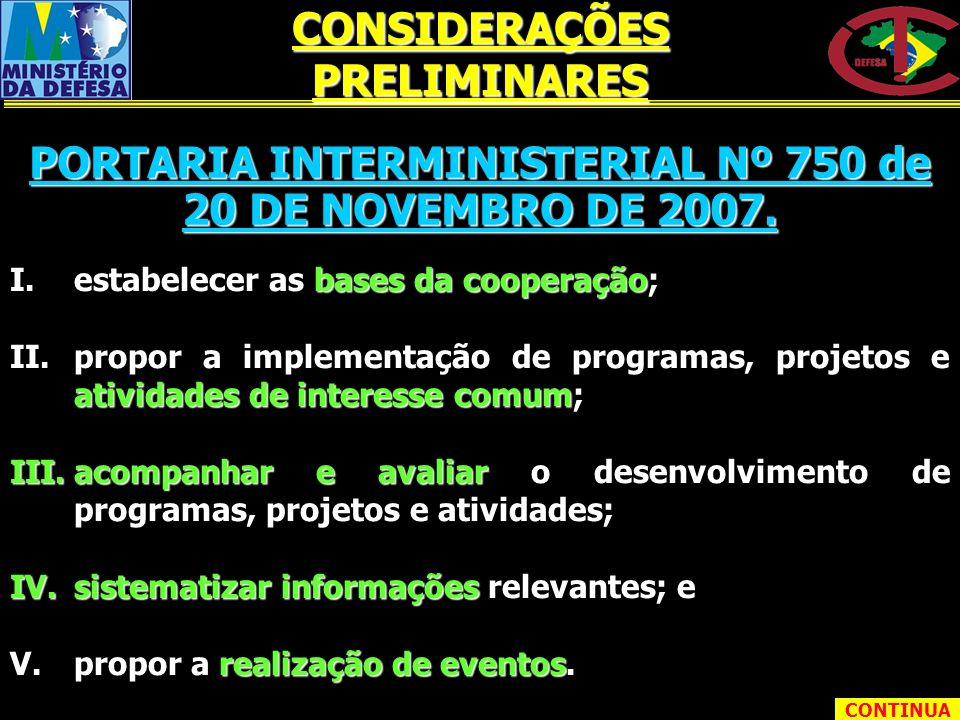 I.estabelecer as bases da cooperação; II.propor a implementação de programas, projetos e atividades de interesse comum; III.acompanhar e avaliar o des