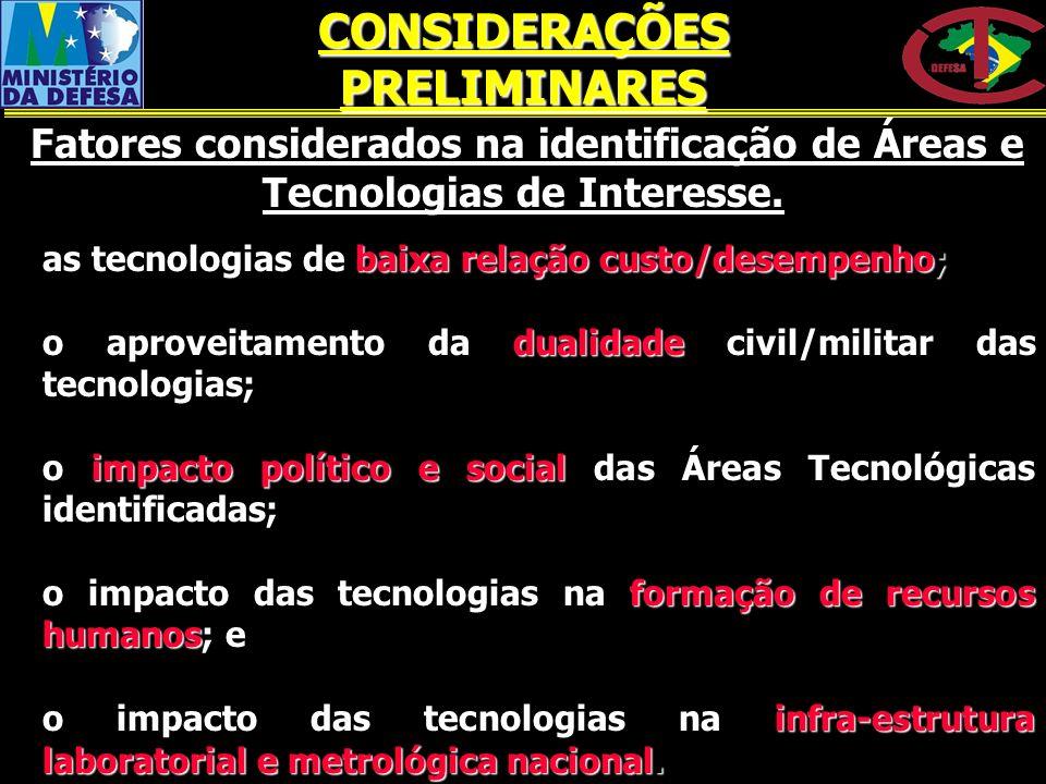 as tecnologias de baixa relação custo/desempenho; as tecnologias de baixa relação custo/desempenho; o aproveitamento da dualidade civil/militar das te
