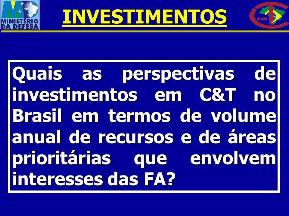 Quais as perspectivas de investimentos em C&T no Brasil em termos de volume anual de recursos e de áreas prioritárias que envolvem interesses das FA?