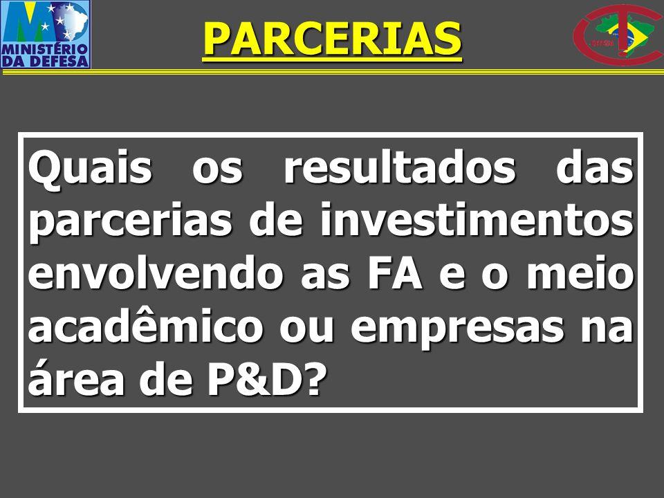 Quais os resultados das parcerias de investimentos envolvendo as FA e o meio acadêmico ou empresas na área de P&D? PARCERIAS