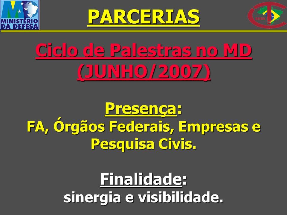 Ciclo de Palestras no MD (JUNHO/2007) Presença: FA, Órgãos Federais, Empresas e Pesquisa Civis. Finalidade: sinergia e visibilidade. PARCERIAS