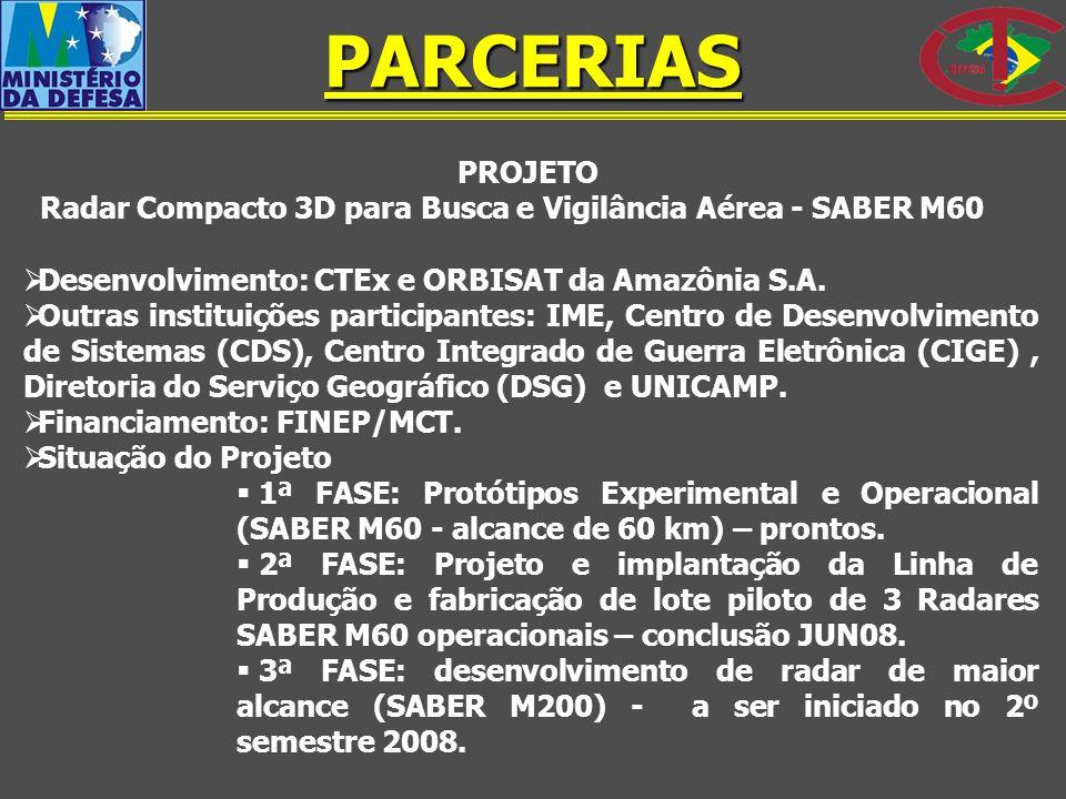PROJETO Radar Compacto 3D para Busca e Vigilância Aérea - SABER M60 Desenvolvimento: CTEx e ORBISAT da Amazônia S.A. Outras instituições participantes