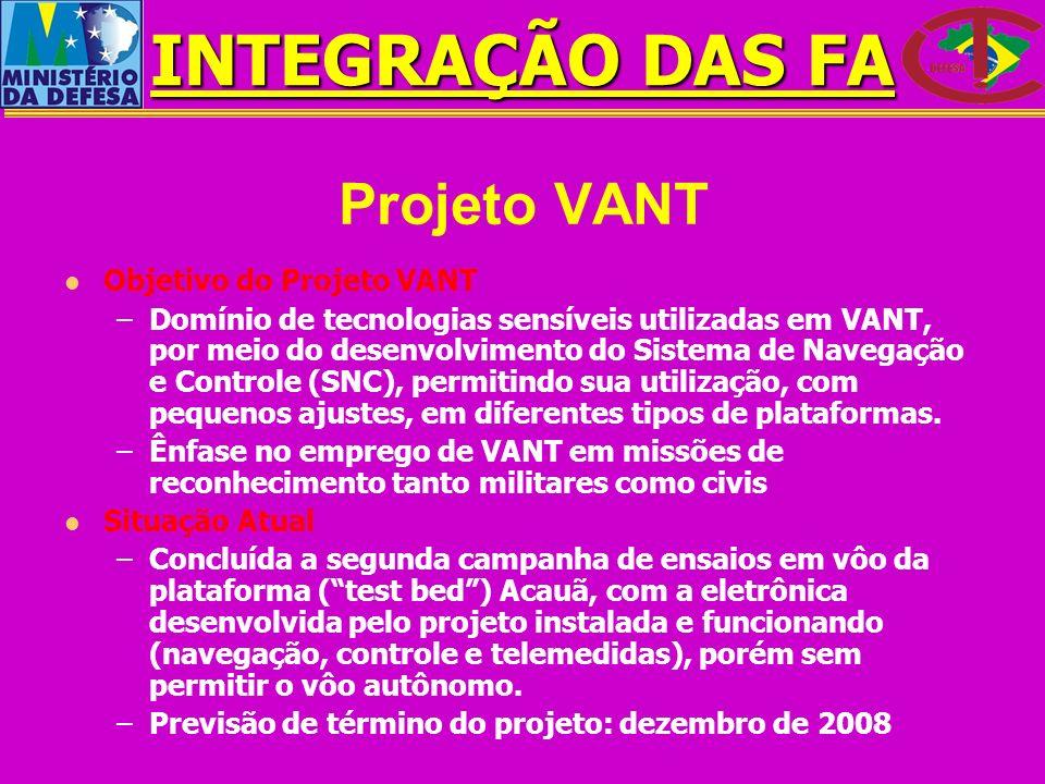 Projeto VANT Objetivo do Projeto VANT –Domínio de tecnologias sensíveis utilizadas em VANT, por meio do desenvolvimento do Sistema de Navegação e Cont