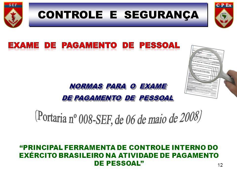 NORMAS PARA O EXAME DE PAGAMENTO DE PESSOAL NORMAS PARA O EXAME DE PAGAMENTO DE PESSOAL PRINCIPAL FERRAMENTA DE CONTROLE INTERNO DO EXÉRCITO BRASILEIRO NA ATIVIDADE DE PAGAMENTO DE PESSOAL CONTROLE E SEGURANÇA 12