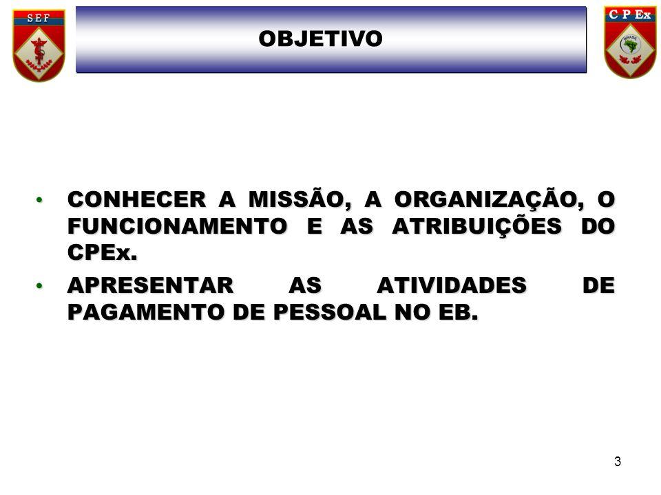 CONHECER A MISSÃO, A ORGANIZAÇÃO, O FUNCIONAMENTO E AS ATRIBUIÇÕES DO CPEx.