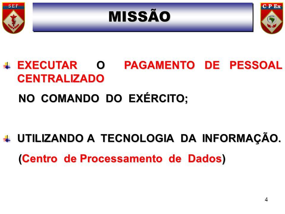 EXECUTAR O PAGAMENTO DE PESSOAL CENTRALIZADO NO COMANDO DO EXÉRCITO; NO COMANDO DO EXÉRCITO; UTILIZANDO A TECNOLOGIA DA INFORMAÇÃO. (Centro de Process