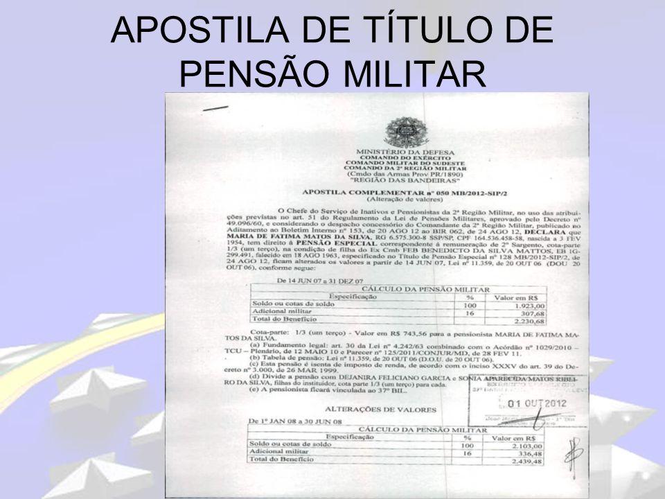 Estágio de Pagamento de Pessoal - ICFEx VERIFICAÇÃO NOS OPIP: Verificar em especial o Título de Pensão Militar dos beneficiários do sexo masculino com idade acima de 21 anos e que não são inválidos.