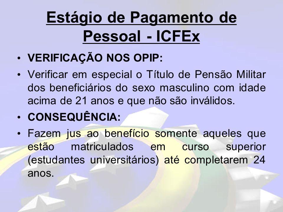 Estágio de Pagamento de Pessoal - ICFEx VERIFICAÇÃO NOS OPIP: Verificar se houve pagamentos extra sistema em favor de Militares Inativos e Pensionistas Militares (RPCMIP).