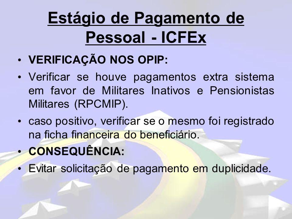 Estágio de Pagamento de Pessoal – ICFEx VERIFICAÇÃO NOS OPIP: Observar no Relatório de Cálculo (Intranet do CPEx), se há Militares Inativos e Pensionistas Militares na situação de cálculo C, F, 3, 9 e 7, sem justo motivo.