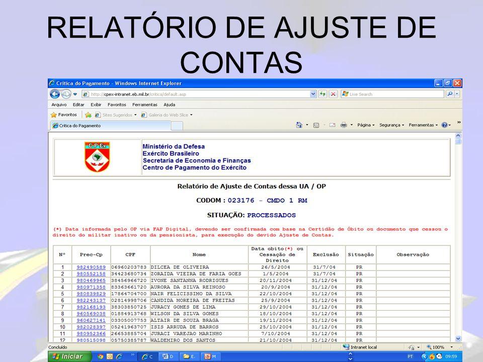 RELATÓRIO DE REJEIÇÕES PPT320 MINISTERIO DO EXERCITO S E F - C P EX PROGRAMA: PPT320 1.CORRIDA S T I - C I T EX SIAPPES-RELATORIO DE CRITICA - 2 DO FAP DATA-PAG: 08/12 03RM007500-9BIMTZ 03.