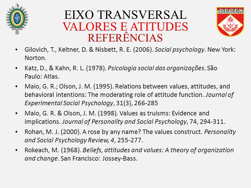 EIXO TRANSVERSAL VALORES E ATITUDES REFERÊNCIAS Gilovich, T., Keltner, D. & Nisbett, R. E. (2006). Social psychology. New York: Norton. Katz, D., & Ka