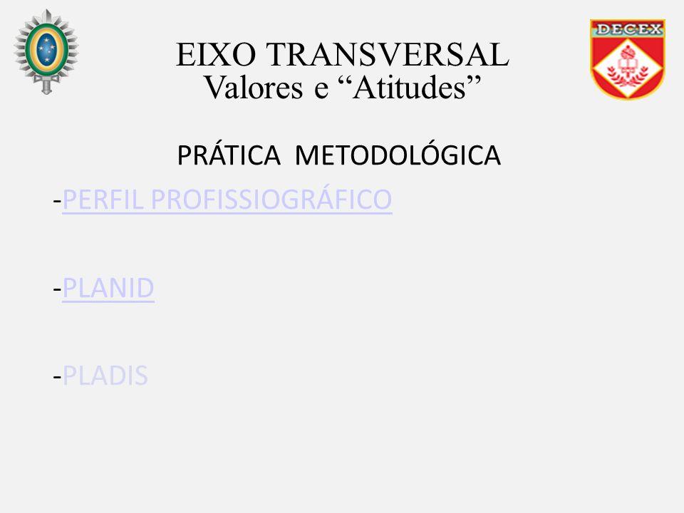 PRÁTICA METODOLÓGICA -PERFIL PROFISSIOGRÁFICOPERFIL PROFISSIOGRÁFICO -PLANIDPLANID -PLADIS EIXO TRANSVERSAL Valores e Atitudes