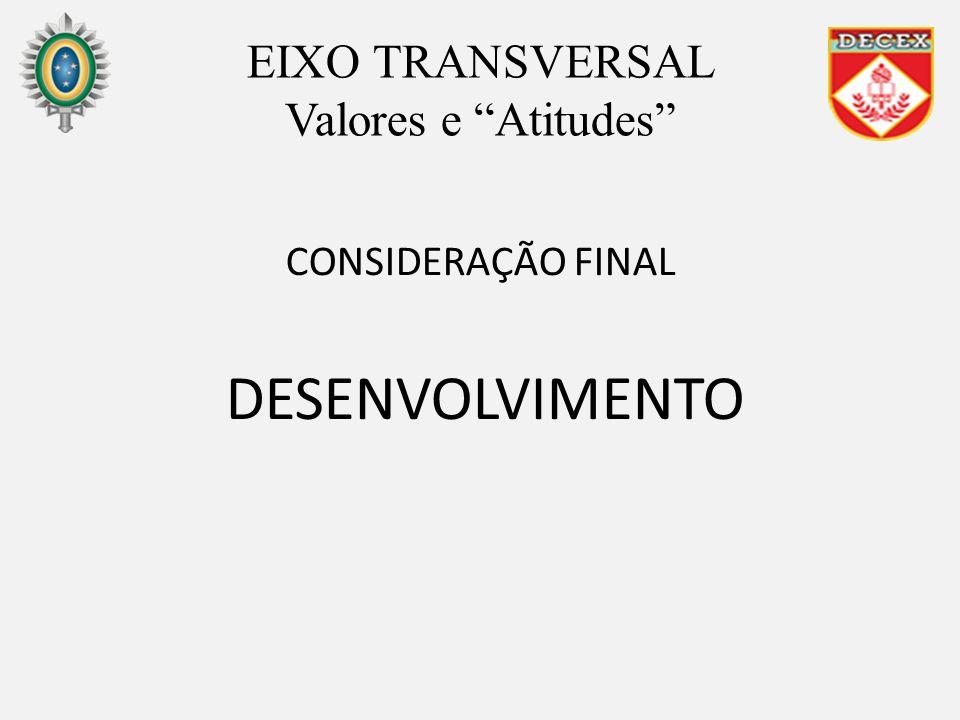 CONSIDERAÇÃO FINAL DESENVOLVIMENTO EIXO TRANSVERSAL Valores e Atitudes