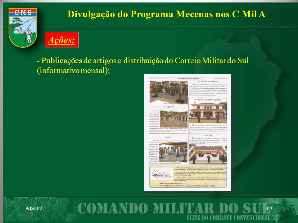 Abr 1217 - Publicações de artigos e distribuição do Correio Militar do Sul (informativo mensal); Divulgação do Programa Mecenas nos C Mil A Ações: