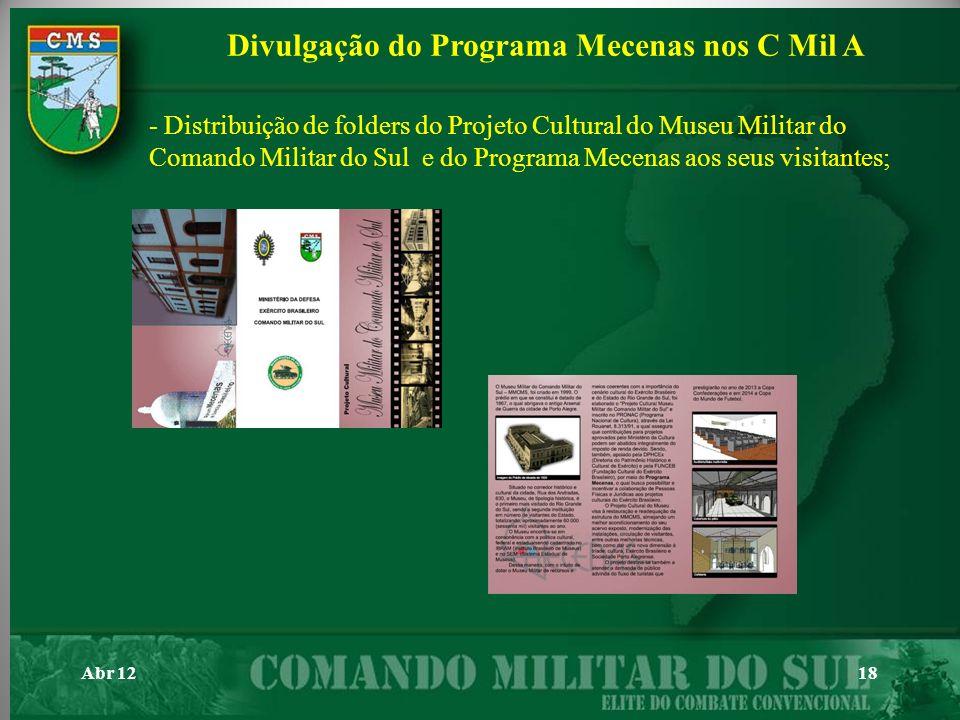 Abr 1218 - Distribuição de folders do Projeto Cultural do Museu Militar do Comando Militar do Sul e do Programa Mecenas aos seus visitantes; Divulgaçã