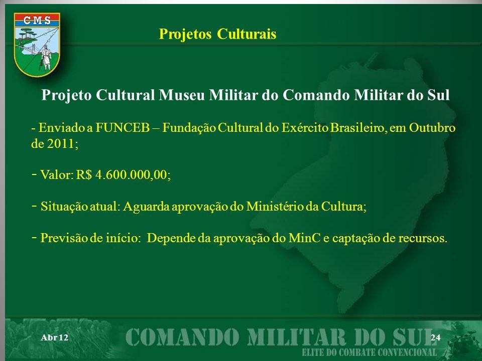 Abr 1224 Projetos Culturais Projeto Cultural Museu Militar do Comando Militar do Sul - Enviado a FUNCEB – Fundação Cultural do Exército Brasileiro, em