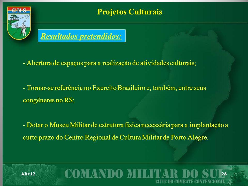 Abr 1228 - Abertura de espaços para a realização de atividades culturais; - Tornar-se referência no Exercito Brasileiro e, também, entre seus congêner