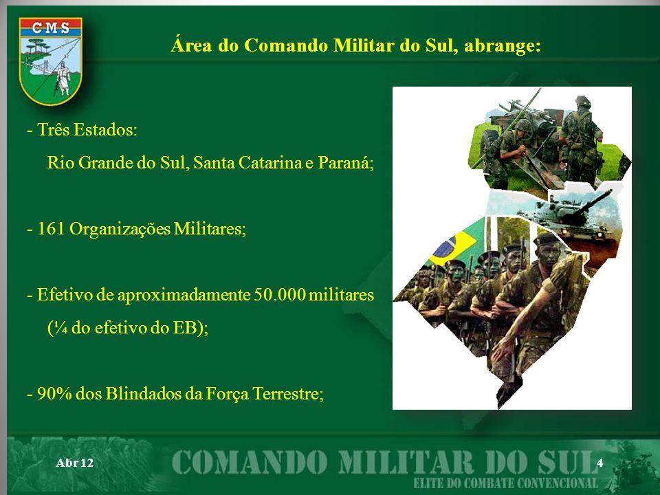 4 Área do Comando Militar do Sul, abrange: - Três Estados: Rio Grande do Sul, Santa Catarina e Paraná; - 161 Organizações Militares; - Efetivo de apro