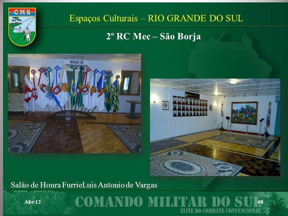 Abr 1248 Salão de Honra FurrieLuis Antonio de Vargas Espaços Culturais – RIO GRANDE DO SUL 2º RC Mec – São Borja
