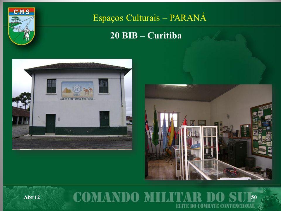 Abr 1250 Espaços Culturais – PARANÁ 20 BIB – Curitiba