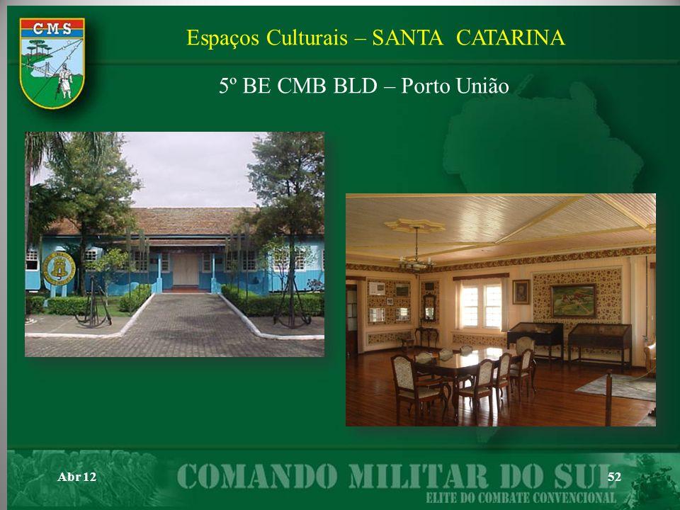 Abr 1252 Espaços Culturais – SANTA CATARINA 5º BE CMB BLD – Porto União