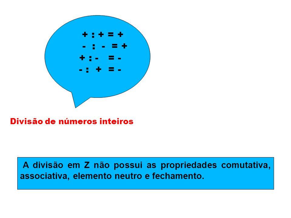Divisão de números inteiros + : + = + - : - = + + : - = - - : + = - A divisão em Z não possui as propriedades comutativa, associativa, elemento neutro
