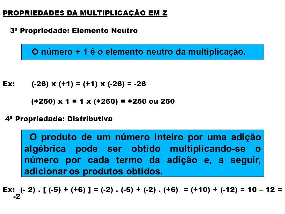 PROPRIEDADES DA MULTIPLICAÇÃO EM Z 5ª Propriedade: Fechamento Ex: (-4) x (+8) = (-32); se (-4) Є Z e (+8) Є Z, então (-32) Є Z - EXERCÍCIOS para firmar o conhecimento Resolvam os exercícios referentes ao assunto do Livro das Pág 29 e 30 O produto de dois números inteiros é sempre um número inteiro