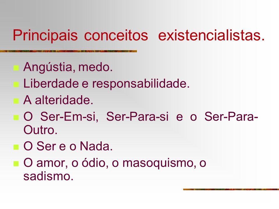 Principais conceitos existencialistas. Angústia, medo. Liberdade e responsabilidade. A alteridade. O Ser-Em-si, Ser-Para-si e o Ser-Para- Outro. O Ser