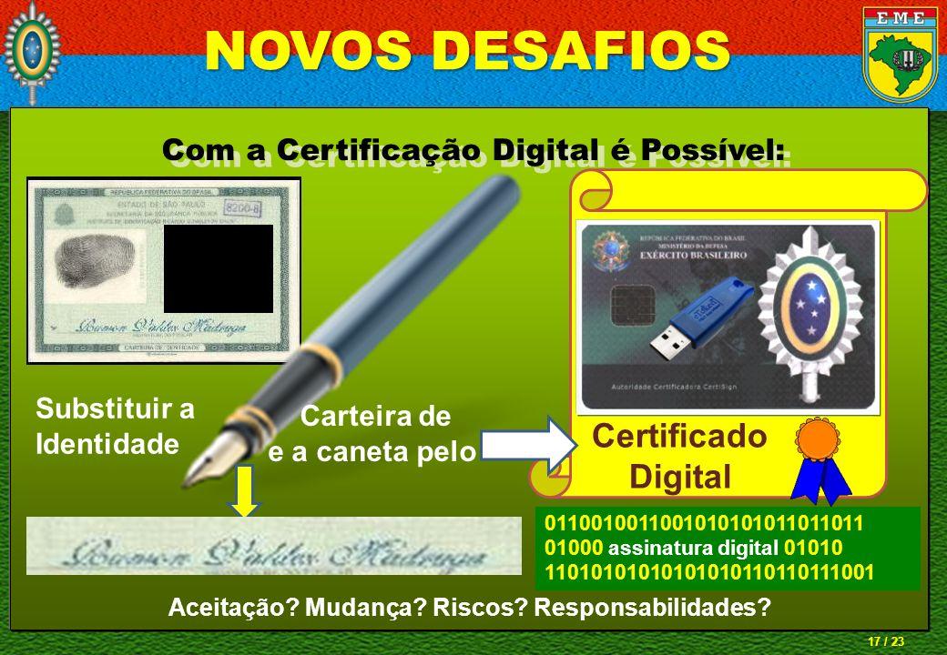 17 / 23 Com a Certificação Digital é Possível: Substituir a Identidade Carteira de e a caneta pelo Certificado Digital 0110010011001010101011011011 01