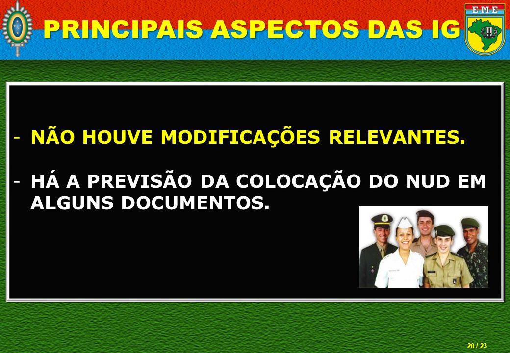 20 / 23 -NÃO HOUVE MODIFICAÇÕES RELEVANTES. -HÁ A PREVISÃO DA COLOCAÇÃO DO NUD EM ALGUNS DOCUMENTOS. PRINCIPAIS ASPECTOS DAS IG