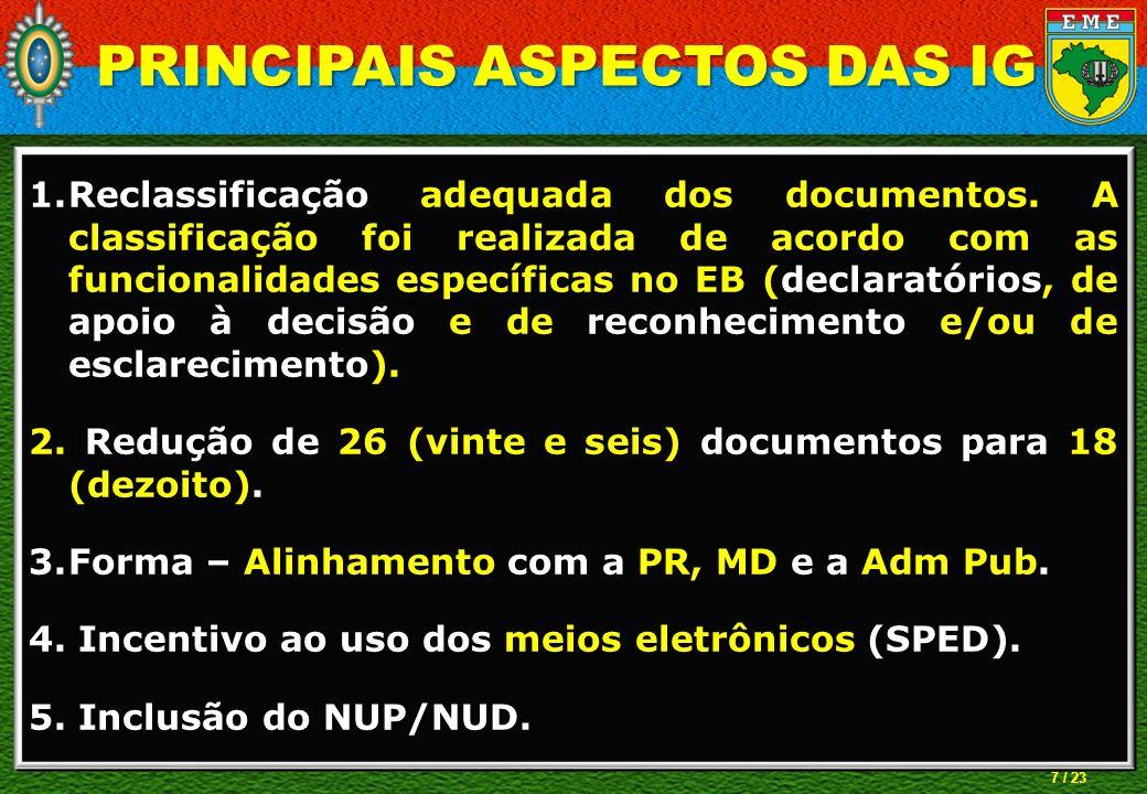 7 / 23 1.Reclassificação adequada dos documentos. A classificação foi realizada de acordo com as funcionalidades específicas no EB (declaratórios, de