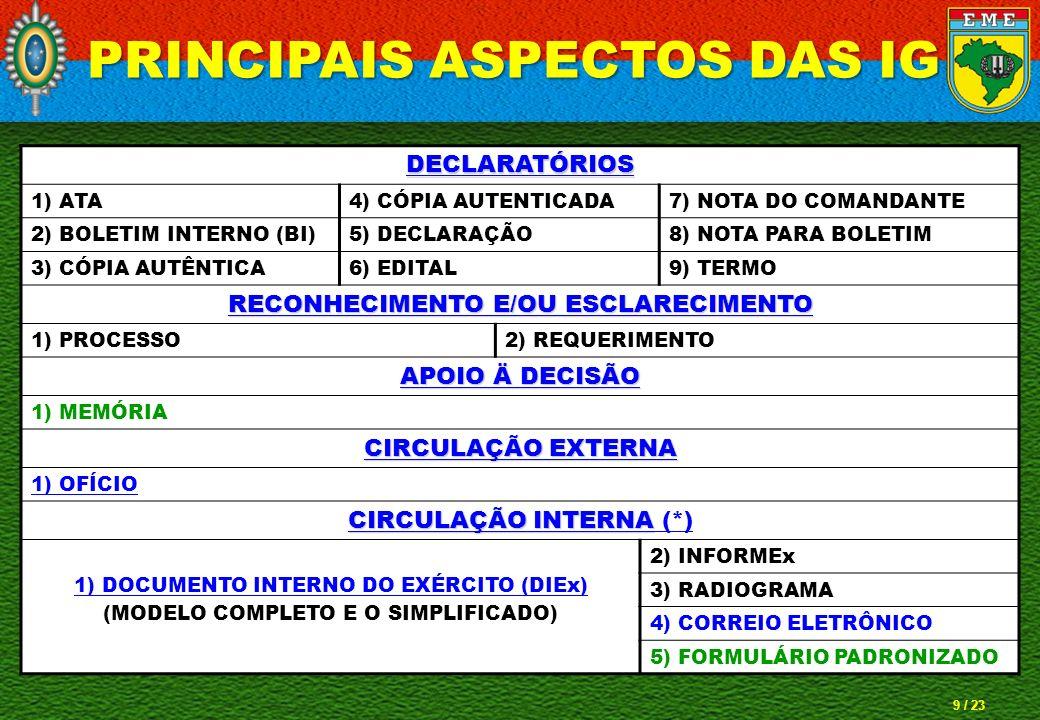 10 / 23 PRINCIPAIS ASPECTOS DAS IG D I Ex
