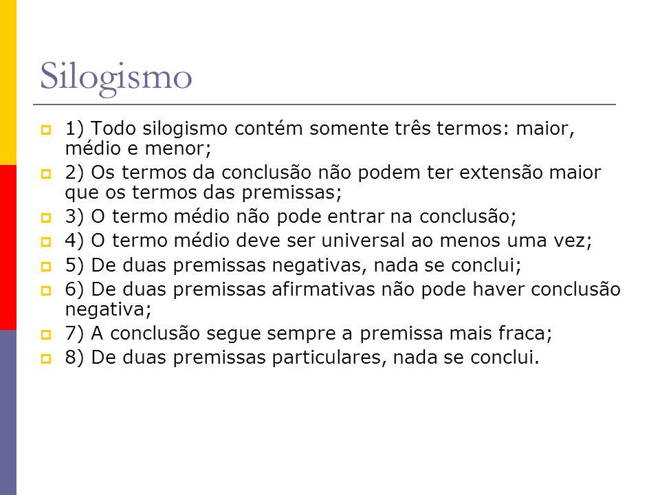 Silogismo 1) Todo silogismo contém somente três termos: maior, médio e menor; 2) Os termos da conclusão não podem ter extensão maior que os termos das