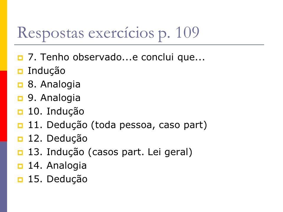 Respostas exercícios p. 109 7. Tenho observado...e conclui que... Indução 8. Analogia 9. Analogia 10. Indução 11. Dedução (toda pessoa, caso part) 12.