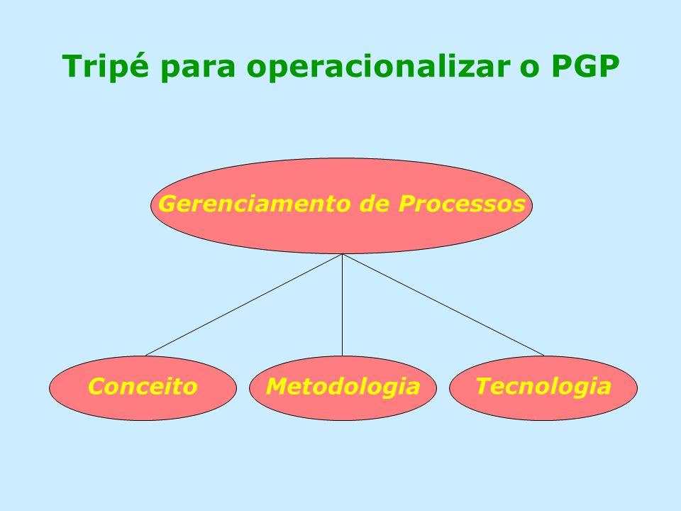 Tripé para operacionalizar o PGP Gerenciamento de Processos ConceitoMetodologia Tecnologia