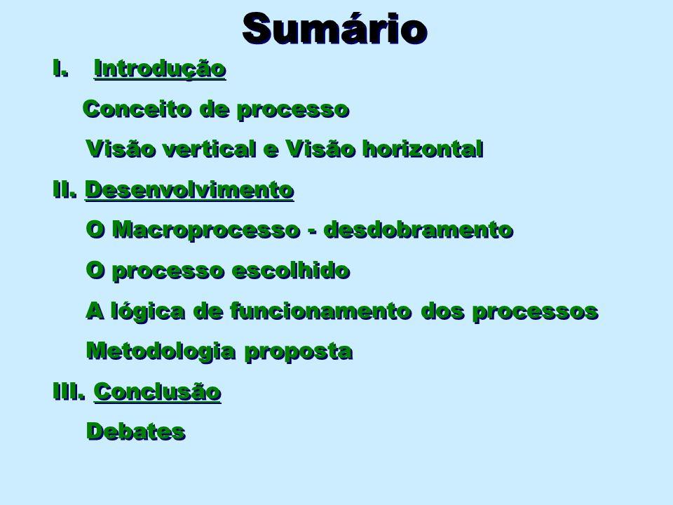 Sumário I. Introdução Conceito de processo Visão vertical e Visão horizontal II. Desenvolvimento O Macroprocesso - desdobramento O processo escolhido