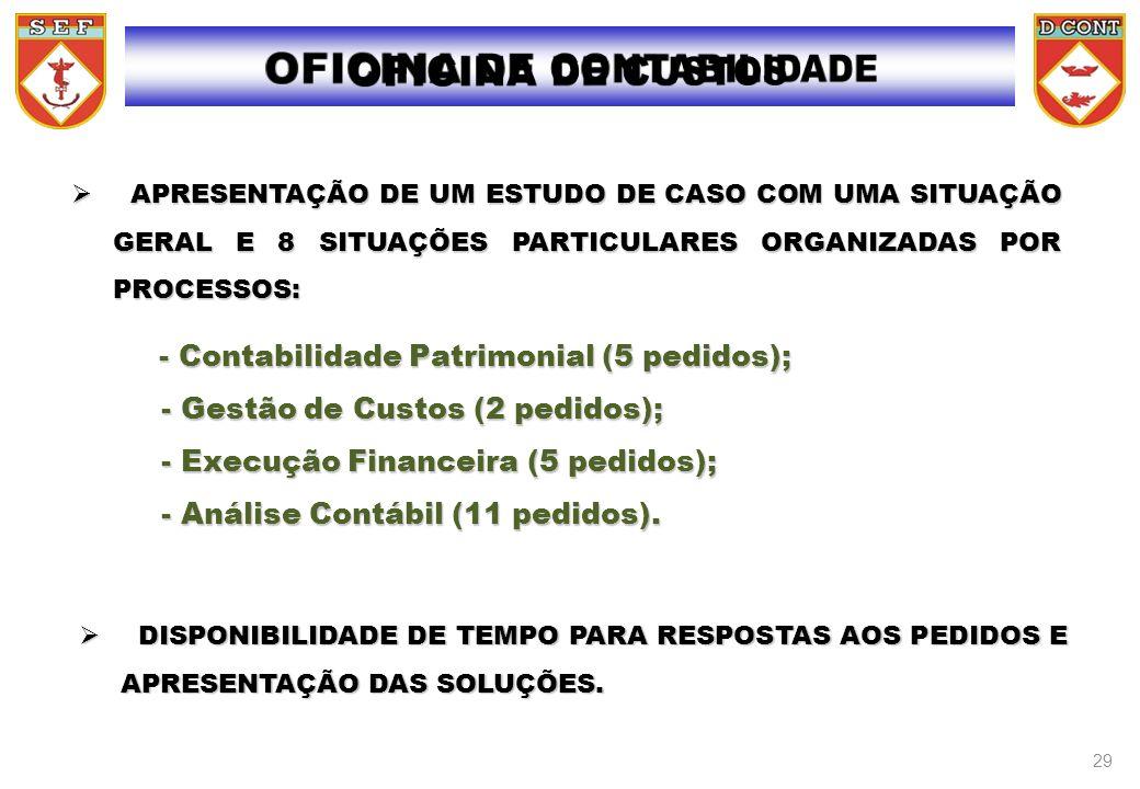 - - Contabilidade Patrimonial (5 pedidos); - Gestão de Custos (2 pedidos); - Execução Financeira (5 pedidos); - Análise Contábil (11 pedidos). APRESEN