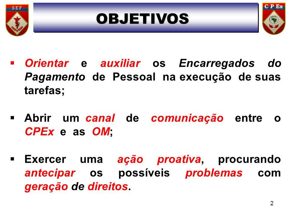 Orientar e auxiliar os Encarregados do Pagamento de Pessoal na execução de suas tarefas; Abrir um canal de comunicação entre o CPEx e as OM; Exercer u
