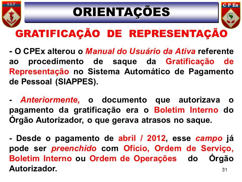 ORIENTAÇÕESORIENTAÇÕES 31 GRATIFICAÇÃO DE REPRESENTAÇÃO - O CPEx alterou o Manual do Usuário da Ativa referente ao procedimento de saque da Gratificaç