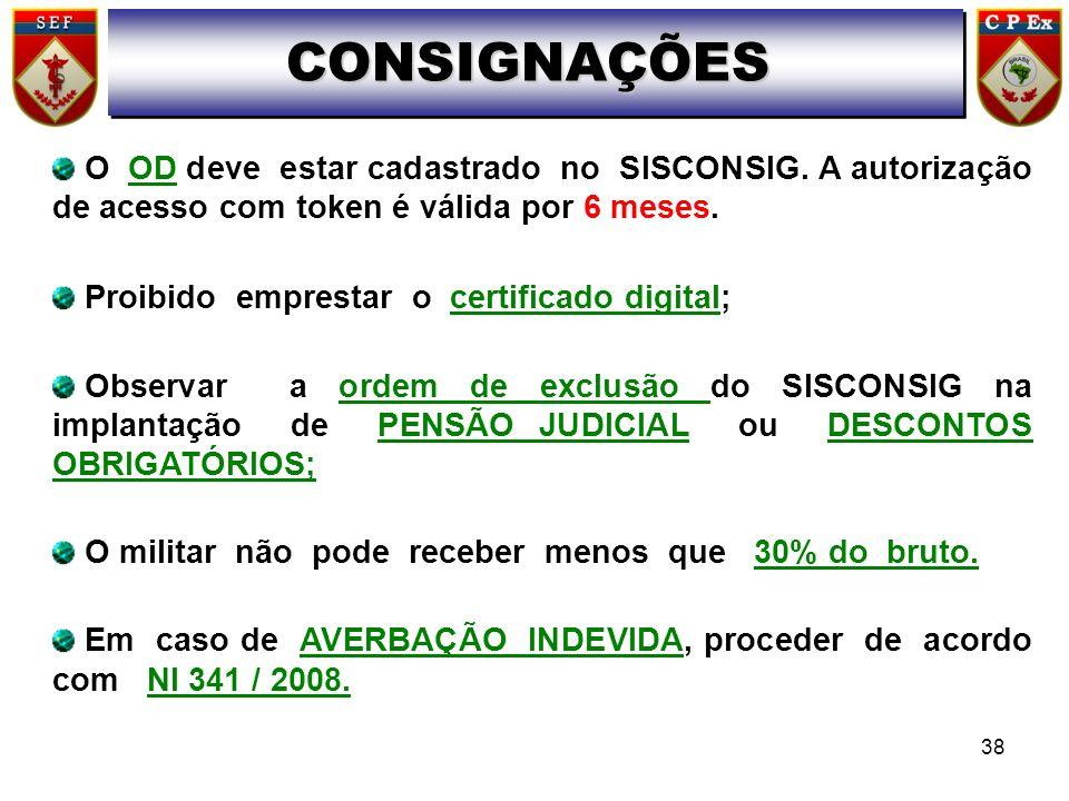 O OD deve estar cadastrado no SISCONSIG. A autorização de acesso com token é válida por 6 meses. Proibido emprestar o certificado digital; Observar a