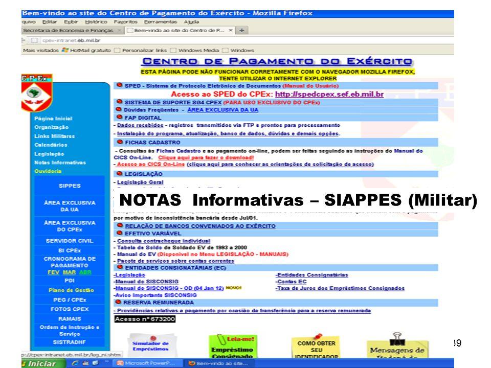 39 NOTAS Informativas – SIAPPES (Militar)