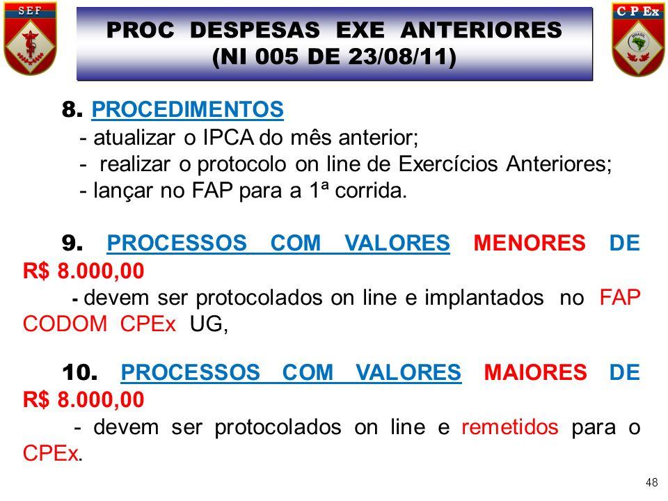 48 PROC DESPESAS EXE ANTERIORES (NI 005 DE 23/08/11) PROC DESPESAS EXE ANTERIORES (NI 005 DE 23/08/11) 8. PROCEDIMENTOS - atualizar o IPCA do mês ante