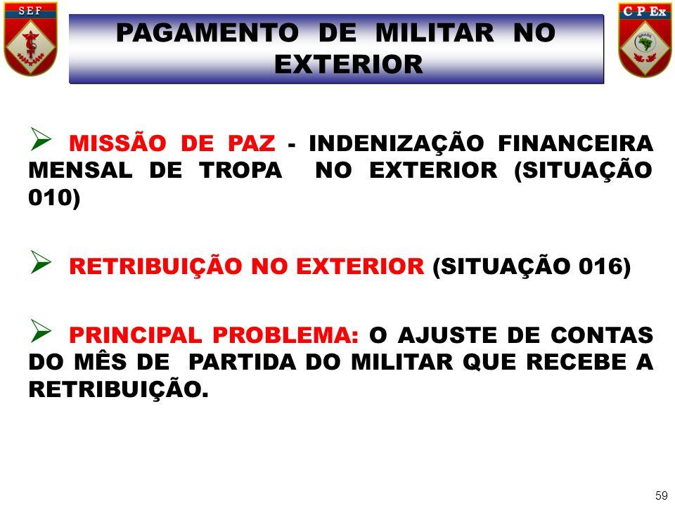 MISSÃO DE PAZ - INDENIZAÇÃO FINANCEIRA MENSAL DE TROPA NO EXTERIOR (SITUAÇÃO 010) RETRIBUIÇÃO NO EXTERIOR (SITUAÇÃO 016) PRINCIPAL PROBLEMA: O AJUSTE
