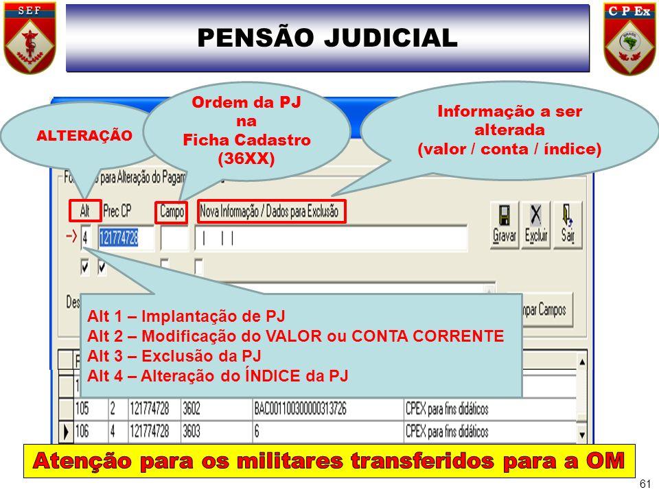 PENSÃO JUDICIAL 61 ALTERAÇÃO Ordem da PJ na Ficha Cadastro (36XX) Informação a ser alterada (valor / conta / índice) Alt 1 – Implantação de PJ Alt 2 –