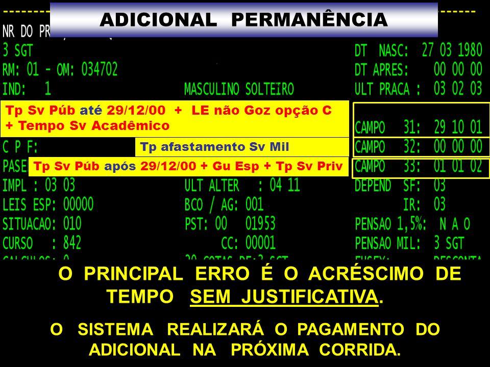 66 Tp Sv Púb até 29/12/00 + LE não Goz opção C + Tempo Sv Acadêmico Tp afastamento Sv Mil Tp Sv Púb após 29/12/00 + Gu Esp + Tp Sv Priv ADICIONAL PERM