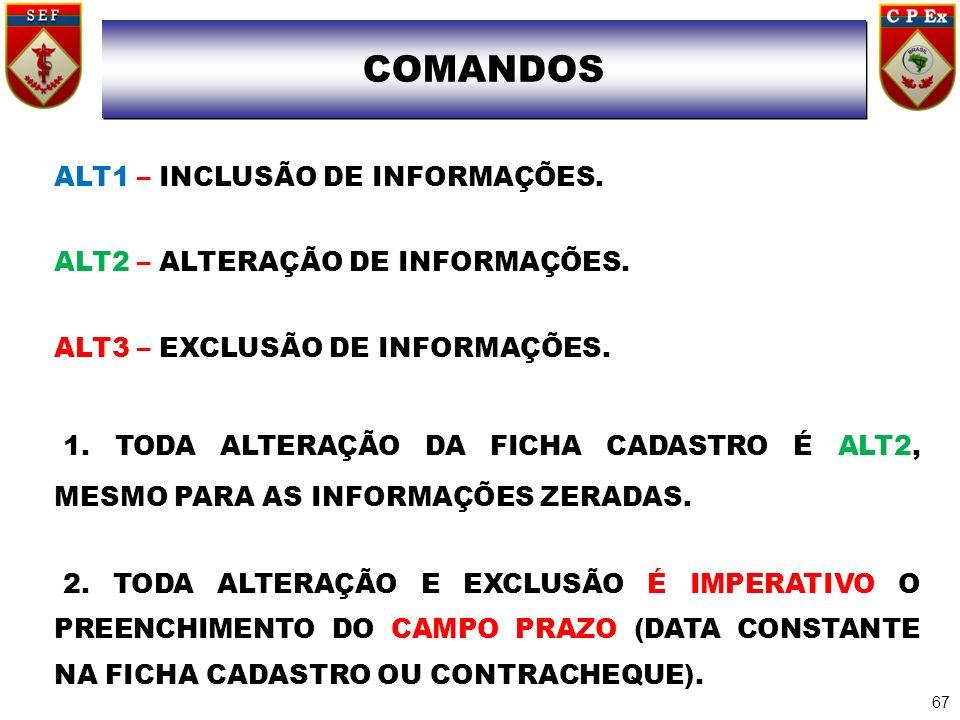 COMANDO ALT1 – INCLUSÃO DE INFORMAÇÕES. ALT2 – ALTERAÇÃO DE INFORMAÇÕES. ALT3 – EXCLUSÃO DE INFORMAÇÕES. 1. TODA ALTERAÇÃO DA FICHA CADASTRO É ALT2, M