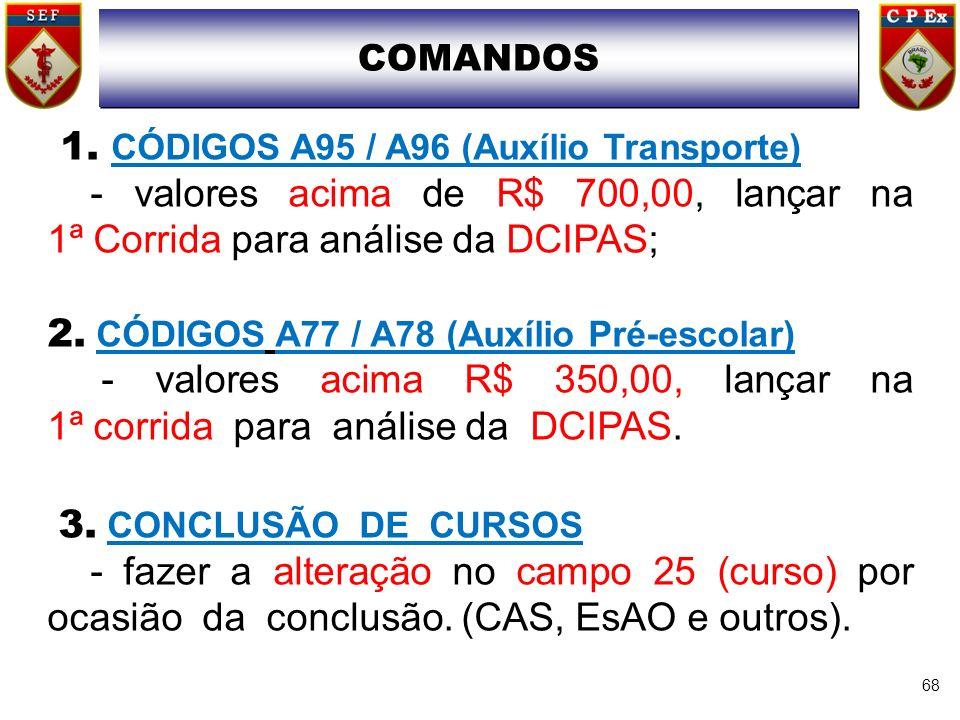 68 1. CÓDIGOS A95 / A96 (Auxílio Transporte) - valores acima de R$ 700,00, lançar na 1ª Corrida para análise da DCIPAS; 2. CÓDIGOS A77 / A78 (Auxílio